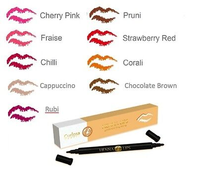 Henna Lips Semi-Permanent Lipstick - Thick/Thin Double End Lip Liner and Filler