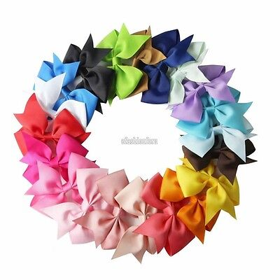 20X Handmade Bow Hair Clip Alligator Clips Girls Ribbon Kids Sides Accessories F