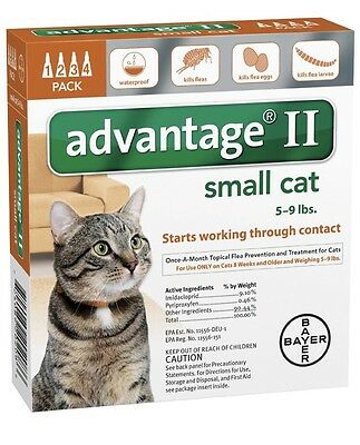 Bayer Advantage II Flea Control Small Cats 5-9lbs 4 Month Supply Free Shipping