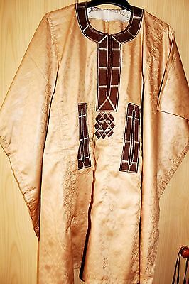 New Unique West African embroidered Danshiki Brocade~ Mens~Beige~ Fast P&P!