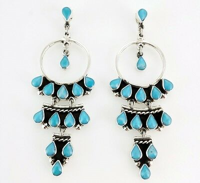 TAXCO 925 BLUE LARIMAR CHANDELIER EARRINGS -Mexico Vintage Style Sterling Silver