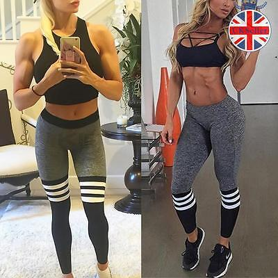 Womens Yoga Pants Fitness Leggings Running Gym Ladies Stretch Sports Trousers
