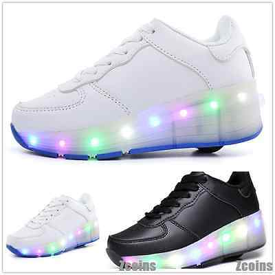 Kids Retractable Wheelies Skate Roller Shoes LED Light Switch Boys Girls Gifts