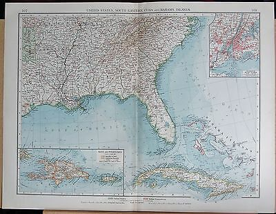 """1900 """"times""""  Large Antique Map - United States South East, Cuba, Bahamas, New Y"""