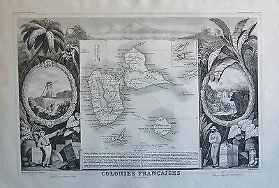 1856 Decorative Antique Map Levasseur-Colonies Francaises,guadeloupe