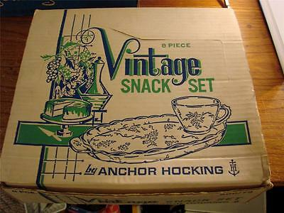 8 Piece Vintage Snack Set By Anchor Hocking Clear Grapes Pattern Original Box