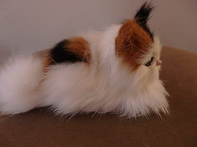 Calico Cat Furry Animal Taxidermy Makes Meow Sound Realistic Replica Kitty