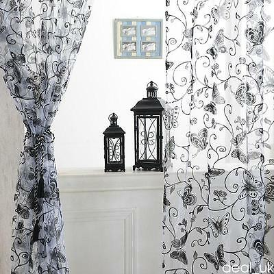 Butterfly Tulle Window Curtain Drape Panel Sheer Scarf Valances for Room Home