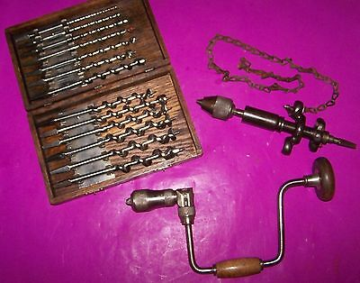 Vintage Brace, Auger Bits, Chain Brace, Christmas gift woodworking Carpentry