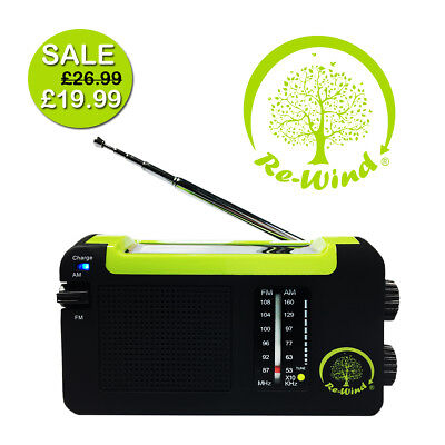 Re-Wind DSP5016 Wind-Up & Solar ECO Friendly Portable AM/FM Radio - USB Charge