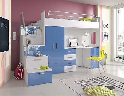 NEW * BUNK BED with stairs + desk wardrobe mattress / kids bedroom furniture