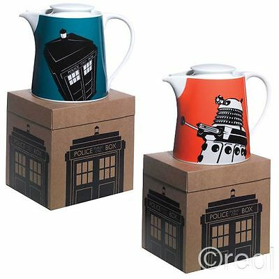 New Doctor Who Blue TARDIS Or Orange Dalek Teapot Home Wares Box BBC Official