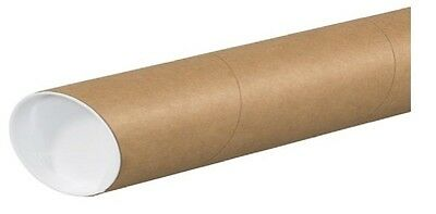 """2"""" x 24"""" Cardboard Mailing Shipping Tubes w/ End Caps .060"""" thick"""