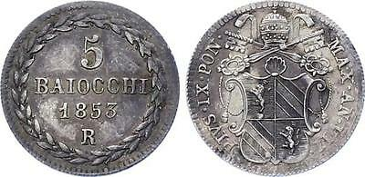 Italian States Papal State Vatican 5 Baiocchi 1853 R VII KM# 1341a Silver AUNC