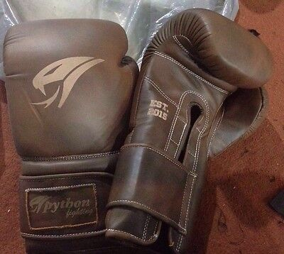 16oz Boxing Gloves Traditional Brown Cowhide Leather Sparring Training MMA UFC