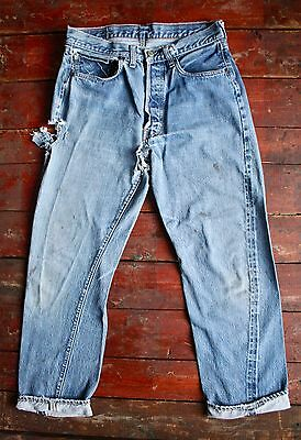 VTG 60s LEVI'S 501 BIG E BLUE DENIM REDLINE SELVEDGE JEANS USA ORIGINAL W30 L28