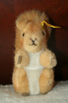 "STEIFF Squirrel POSSY 1466/12 KNOPF IM OHR Plush Stuffed Animal 5"" CHRISTMAS"