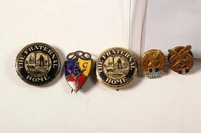 vintage Fraternal Lodge pins (5) F.O.E.