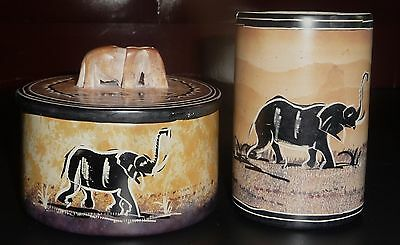 African Elephant Stone Cup and Jar Set