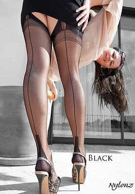 Eleganti Fully Fashioned Stockings - BLACK CUBAN Size L -  Imperfects