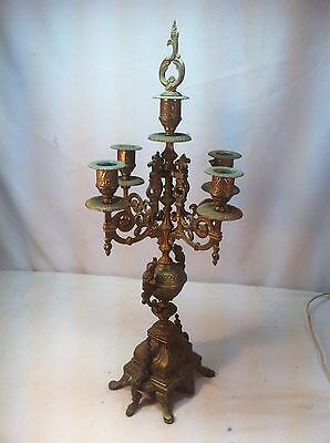 Vintage Pair Of Solid Brass Four Arm Gothic Candle Opts Victorian