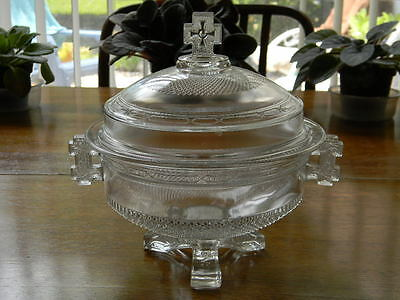EAPG Pattern Glass Queen Anne Covered Compote