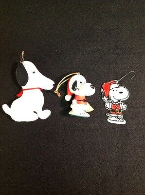 Snoopy 3pc Vintage Christmas Ornament Lot Japan Figure Plush Santa 1960s
