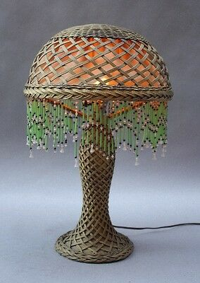 1910 Antique Arts & Crafts Wicker Table Lamp Vintage Light Craftsman (9875)