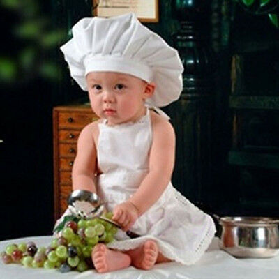 Cute White Baby Cook Costume Photos Photography Prop Newborn Infant Hat Apron CN