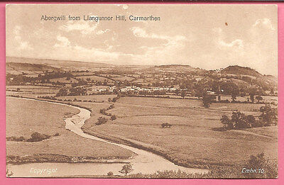 Abergwili from Llangunnor Hill, Carmarthen, Wales postcard.