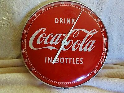 """~LOOK~ Vintage 1950's Coca-Cola 12"""" Round """"In Bottles"""" Thermometer Sign"""