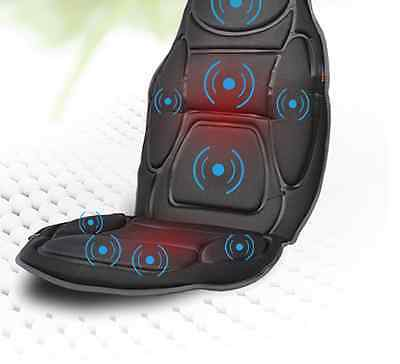 Medivon Black Heated Back Massage Chair Mat Vibration Relax Car Seat