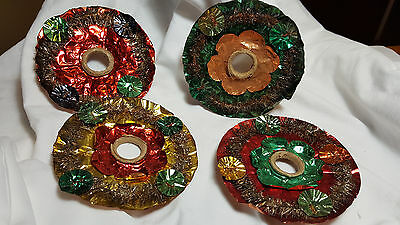 4 German Candle Light Foil Vintage German Reflectors