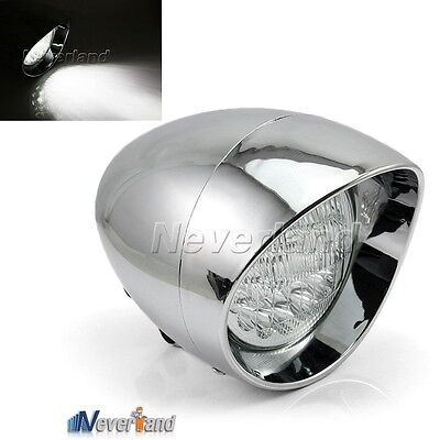 "New 7"" LED Motorcycle Bullet Chrome Headlight Light For Harley Davidson Choppers"