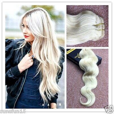 "7A European Remy Clip in Human Hair Extensions Blonde Wavy 16""-24"""
