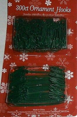 Holiday Ornament Hooks 300 ct  Jumbo 100 ct Regular 200 ct  Green