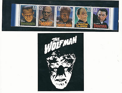 Monster Stamps: Universal Monster's strip of (5) W/Wolfman Sticker...