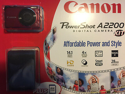 NEW Canon Powershot A2200 14.1 MP Digital Camera with 4x Optical Zoom (Red)
