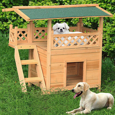 Outdoor Cat Shelter House Stairs Garden Patio Waterproof Small Dog Kennel Wooden