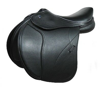 """Horse Riding Butterfly Self Adjusting Show Jumping Saddle Black Leather 17"""""""