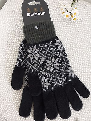 BNWT Barbour 100% Pure New Wool Black Grey Fairisle Knitted Gloves  size M