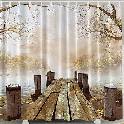 Fall Boat Dock SHOWER CURTAIN Fabric Wooden Bridge Primitive ...