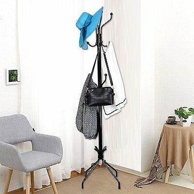 Coat Rack Iron Metal Clothes Stand Spiral Design Hat Hanger Tree Wall Hook NEW