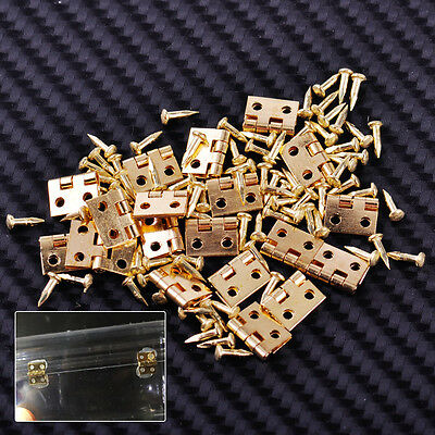 20x Small Door Hinges With Nails Screws Dollhouse 1/12 Miniatures Fixture