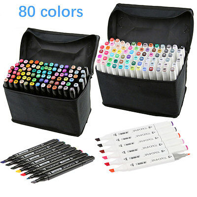 80 Colors Artist Dual-Head Sketch Markers Broad and Fine Touch Five Mark Pen Set