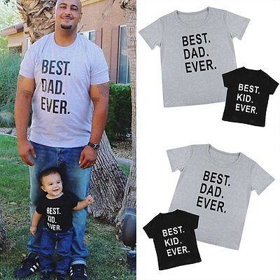 Fashion Father Dad Kids Boy Girls Family Outfits T-shirt Tops Tee Clothes Blouse