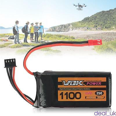 NEW 11.1V 1100mAh 25C 3S RC Lipo Battery JST Plug Pack Universal For RC Drone