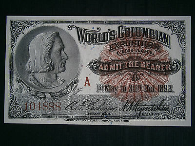 1893 Columbian Exposition Admission Ticket Columbus World Fair Chicago