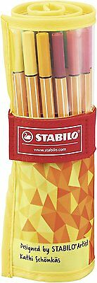 STABILO 8825-02 Fineliner - Point 88 - 25er Rollerset FAN EDITION - 25 Farben