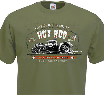 Tee Shirt HOT ROD Gazoline & Dust KUSTOM STUFF ONLY - Drag Race V8 Rat Fink Ford